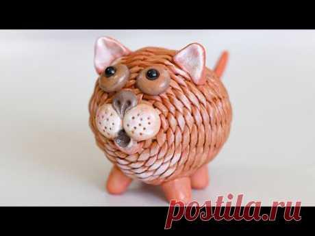 Плетеный Кот из газетных трубочек