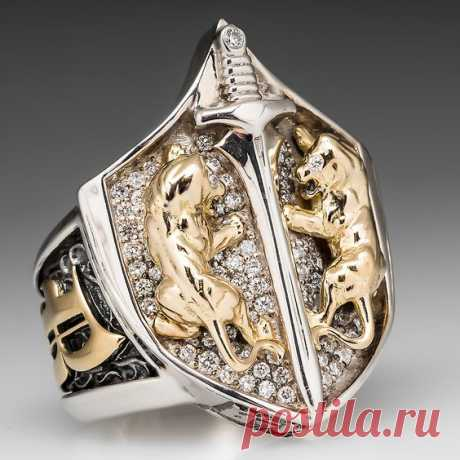Proclamation Jewelry Custom Made Mens Diamond Lion Shield Ring.925 Sterling & 18K Gold