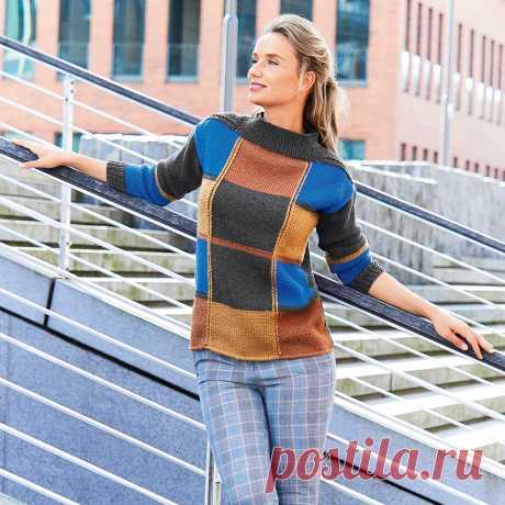 Джемпер с цветными клетками - схема вязания спицами. Вяжем Джемперы на Verena.ru
