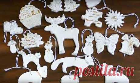Елочные игрушки из соленого теста на Новый год