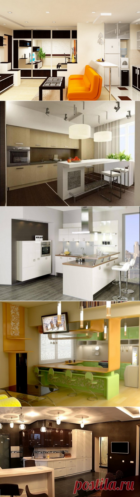 Оформление гостиной совмещенной с кухней