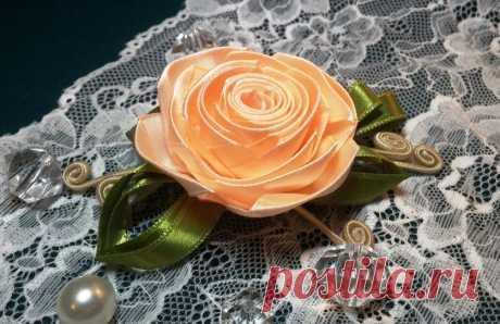 Цветы из лент: роза из узкой ленты. МК — Рукоделие
