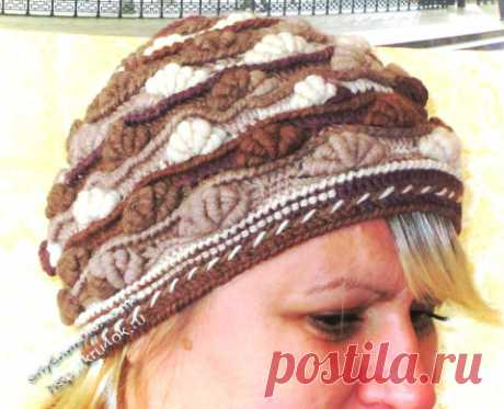 Вязаная шапка «Шоколадные ракушки» — работа Яны - вязание крючком на kru4ok.ru