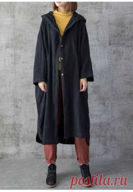 Women Long thin coat, Loose Fitting Blouse for Women, Oversized  hooded coat 【Fabric】 Cotton, linen 【Color】 Red, black, gray 【Size】 Shoulder width is not limited Shoulder + sleeve length 65cm / 25 Bust 122cm/ 48 Length 112cm/ 44  Have any questions please contact me and I will be happy to help you.