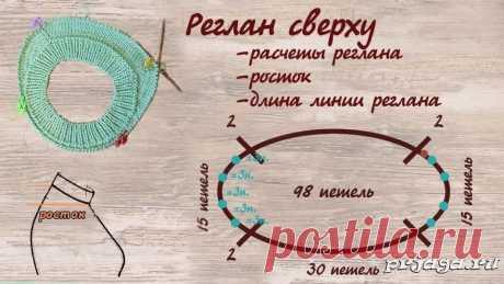 Расчет петель реглана сверху с ростком Подробнее: https://prjaga.ru/uroki-vyazaniya/uroki-vyazaniya-spicami/raschet-petel-reglana-sverkhu-s-rostkom