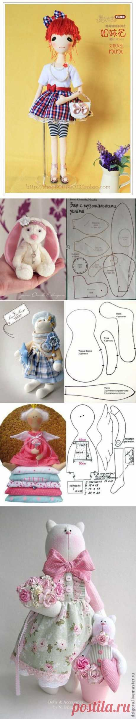 Много выкроек игрушек и кукол.
