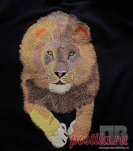 Оригинальная вышивка на одежде льва по фотографии