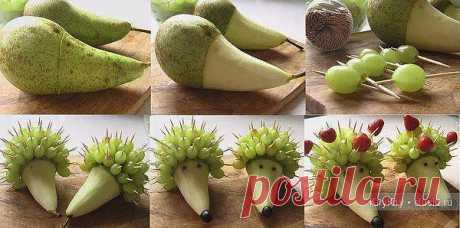 Carving - a hedgehog from a pear