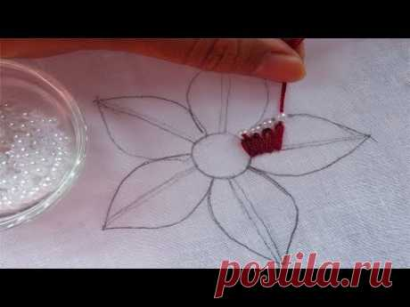 hand embroidery fancy flower with pearl,super easy flower embroidery