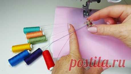 Швейный трюк. Намотала на шпульку 7 разноцветных ниток и прошила, показываю какой получила эффект на ткани  нитки отпали, а шов аккуратный, как будто сама сделала а нитки были не натуральные?
