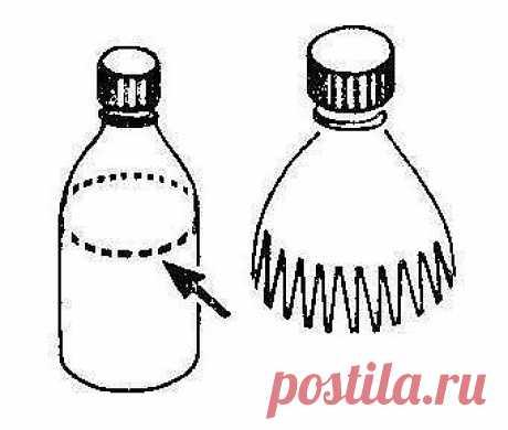 Improvisado valan para el bádminton de la botella de plástico