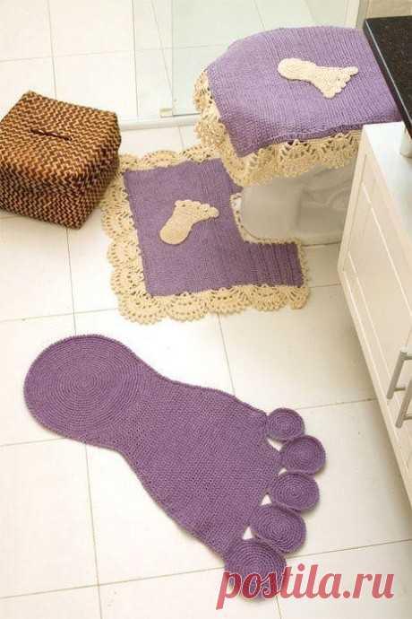 Вяжем интересный коврик для ванной из категории Интересные идеи – Вязаные идеи, идеи для вязания