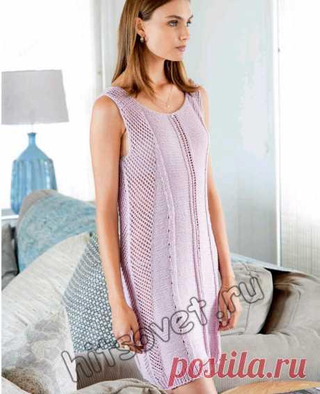 Вязаное платье с сетчатыми вставками - Хитсовет