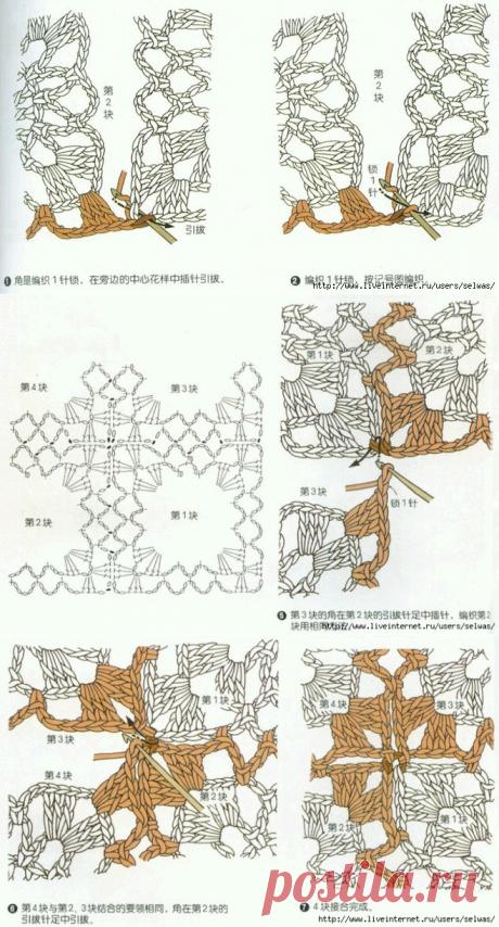 Учебник по способам соединения мотивов, связанных крючком.
