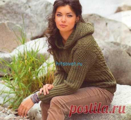 Стильный пуловер с капюшоном схема - Хитсовет Стильный пуловер с капюшоном схема. Вам потребуется: 600 (650) 700 г оливковой пряжи Merino Air (90% овечьей шерсти, 10% полиамида, 130 м/50 г); спицы № 4,5.