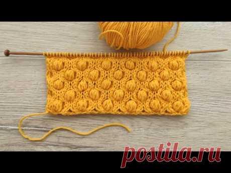 Узор «Шишечки в сотах» спицами 🐝 «Bobble in Honeycomb» knitting pattern  🌲