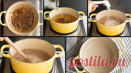 Чем можно отмыть сгоревшую кастрюлю:  Наливаем в кастрюлю 1 стакан воды (можно больше, если кастрюля объемная). Добавляем 1 стакан уксуса. Ставим кастрюлю на огонь и ждем, пока жидкость закипит. Убираем кастрюлю с огня и насыпаем в нее 2 столовые ложки пищевой соды. Даем раствору постоять минут 30, выливаем жидкость, надеваем перчатки и убираем нагар с посуды металлической мочалкой. Если нагар все еще остался, то сыпем в кастрюлю соду, добавляем немного воды и продолжаем оттирать дно.