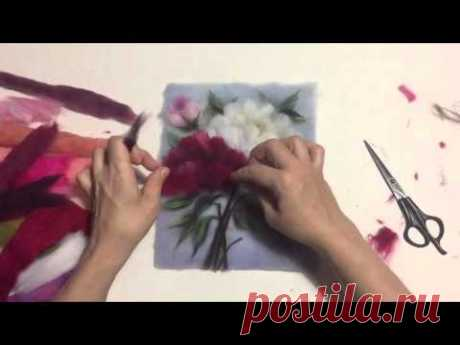 """Painting by wool. Video lesson """"Пионы""""."""