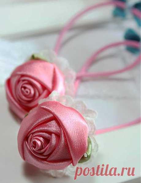 как сделать розы из атласных лент