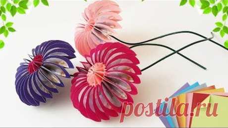 DIY Paper Origami Flowers Easy Making Craft Tutorial | Делаем Оригами Цветы Из Бумаги