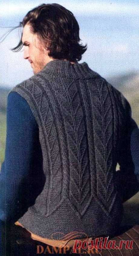 "Мужской пуловер ""Bronson Rock"" спицами"