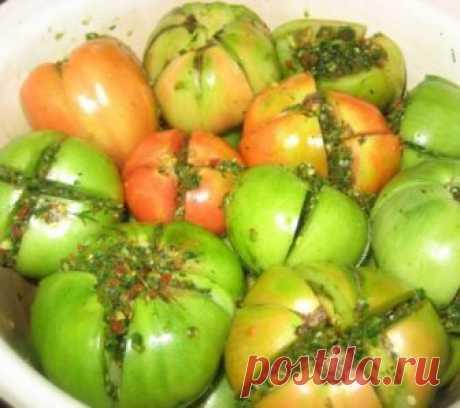 Как солить зелёные помидоры на зиму в банках