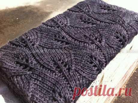 Плед с узором листья  #плед@knittinglove  Размеры Показать полностью…