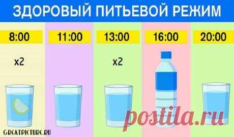 Как правильно пить воду по часам:ешь что хочешь, пей воду по часам Как правильно пить воду по часам:ешь что хочешь, пей воду по часам. Результат — минус 15 % жира! Плохое самочувствие и головные боли мы