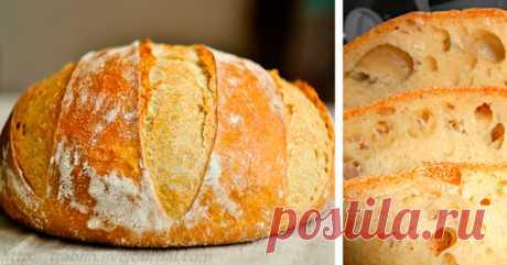 El pan casero sin zamesa: ¡la receta es simple justamente, dos, tres! Pomposo, odorífero, con la corteza corrujiente …