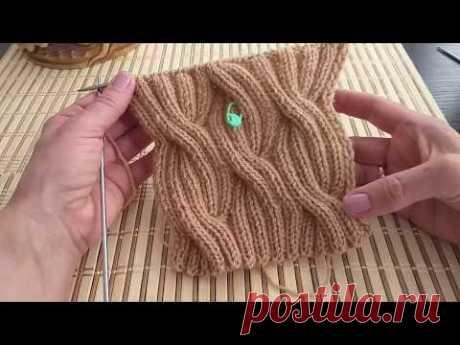 Двухсторонний узор волна для снуда и шапки. Вязание спицами.