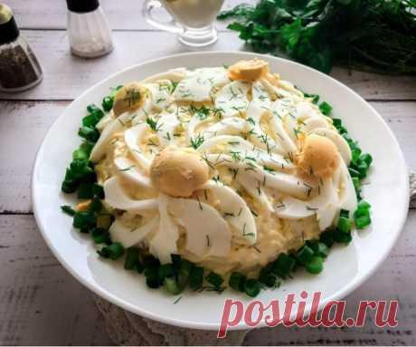 Салат с куриной печенью и картофелем