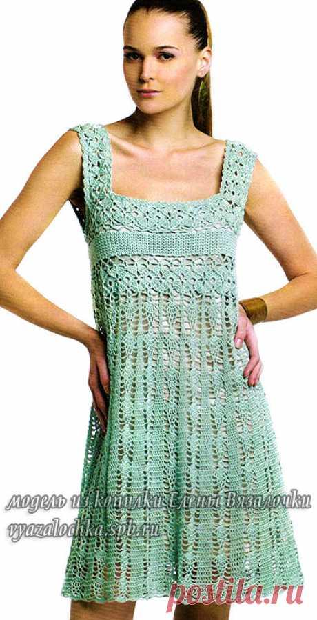 El vestido el sarafán por el gancho para el verano caliente | Elena Vyazalochka - los Mejores Esquemas y el Modelo - la Labor de punto por los Rayos y el Gancho