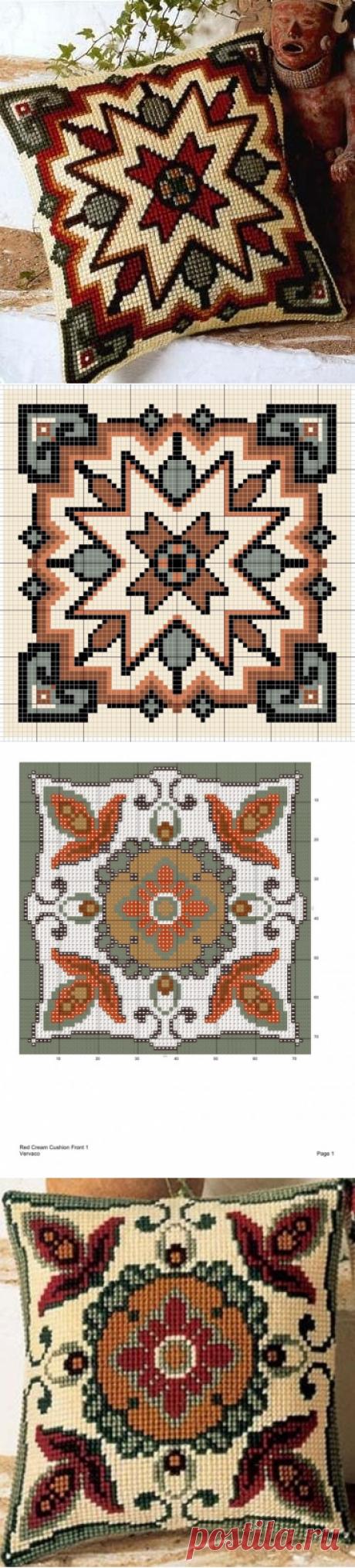 Вышивка крестом подушек