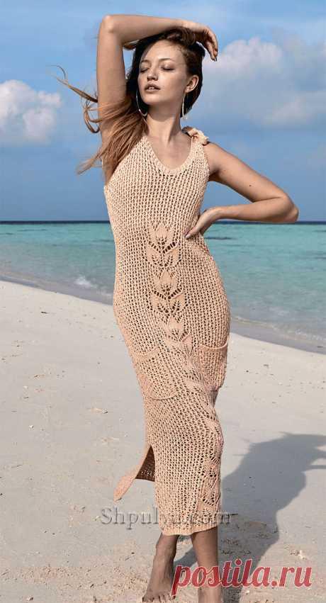 Сетчатое платье с ажурным мотивом — Shpulya.com - схемы с описанием для вязания спицами и крючком