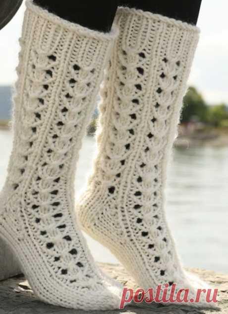 Ажурный узор для нежных носочков из категории Интересные идеи – Вязаные идеи, идеи для вязания
