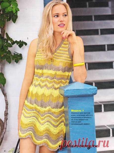 Вязаное узорчатое платье Вязаное узорчатое платье идеально для светлой кожи: сочетание желтого, кукурузного и бежевого на нём дает потрясающий эффект. Схема. Описание.
