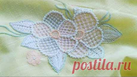 Hand Embroidery : Net Stitch design | Вышивка: Сетчатый шов