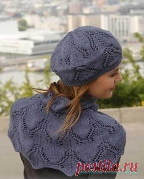 Красивое вязание   Берет и манишка спицами