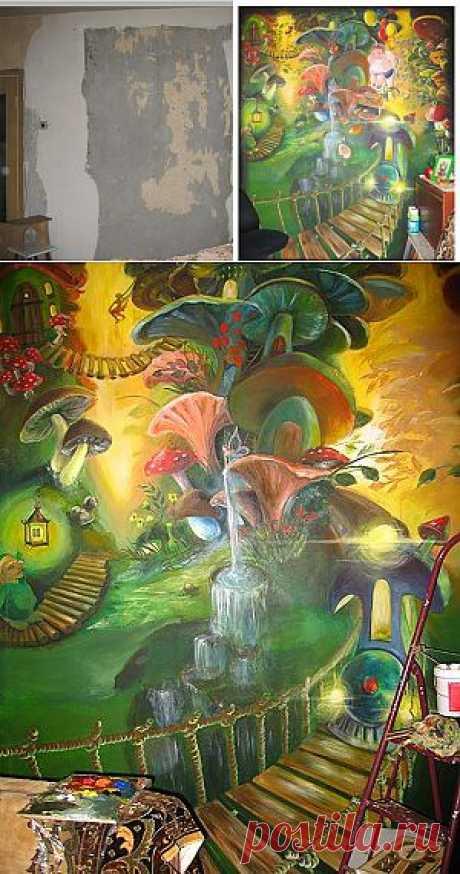 """Мастер-класс по художественной росписи стены акриловыми красками. Художественная роспись стены """"Сказочный мир""""."""