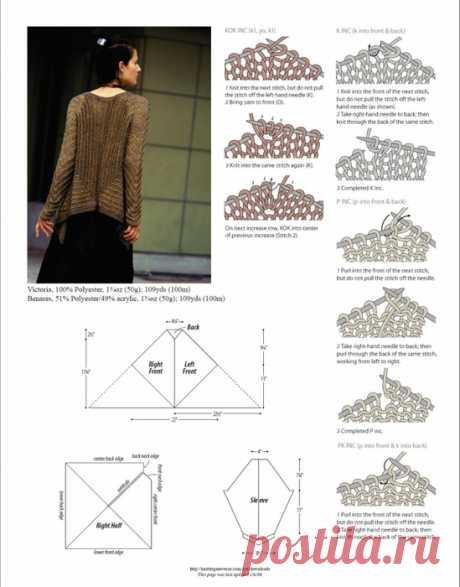 Кардиган спицами из квадратов