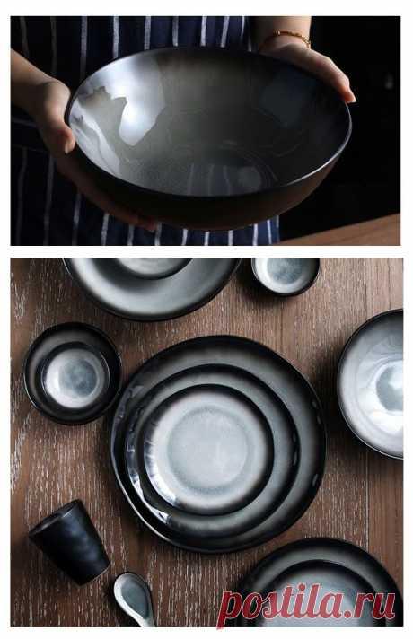 Керамические серые тарелки