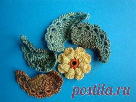 ▶ Как вязать листик крючком Урок 293 How to crochet leaf - YouTube