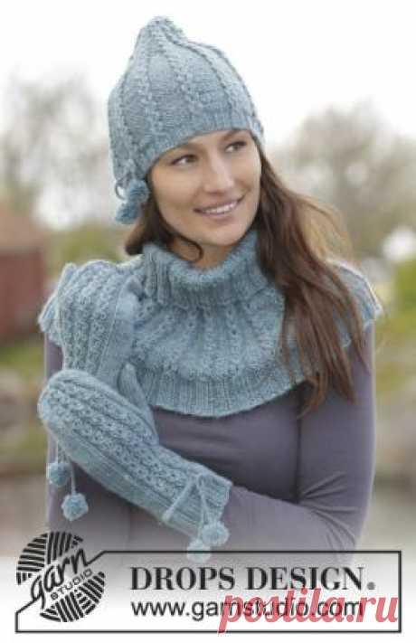 Комплект Мэгги Блюз Очаровательный теплый комплект спицами для женщин, связанный шерстяной пряжи средней толщины. Вязание шапки и манишки осуществляется по кругу по...