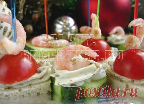 3 вида канапе с креветками на шпажках | Салаты и закуски