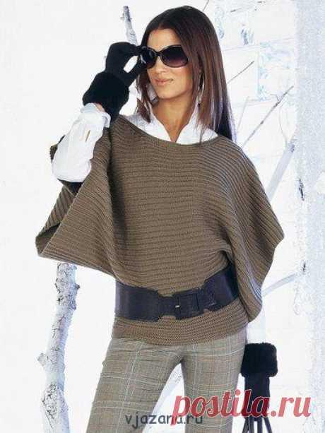 Модный простой жакет связанный спицами платочной вязкой | Вязана.ru