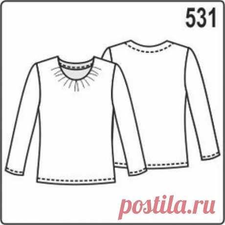 Выкройка блузки (джемпера) из трикотажа с сборками на горловине - Porrivan Скачать бесплатную выкройку женской блузки из трикотажа. Выкройка с длинным рукавом и горловиной со сборкой сделана бесплатно в натуральную величину на формат А4. Размеры выкройки 44, 46, 48, 50, 52, 54.