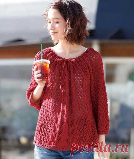 Горящая красная блузка напоминает Lotte ... - мобильный портал Knitting Life