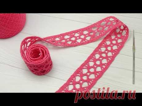 Вязание крючком ЛЕНТОЧНОЕ КРУЖЕВО тесьма крючком вязаная в длину на метраж How to Crochet Lace