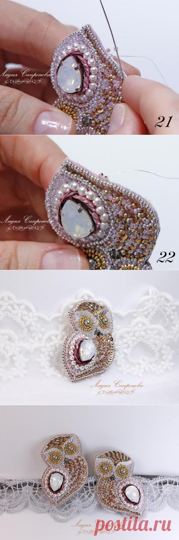 El broche con el cristal, las perlas y payetkami. La Clase maestra - la Feria de los Maestros - la labor a mano, handmade