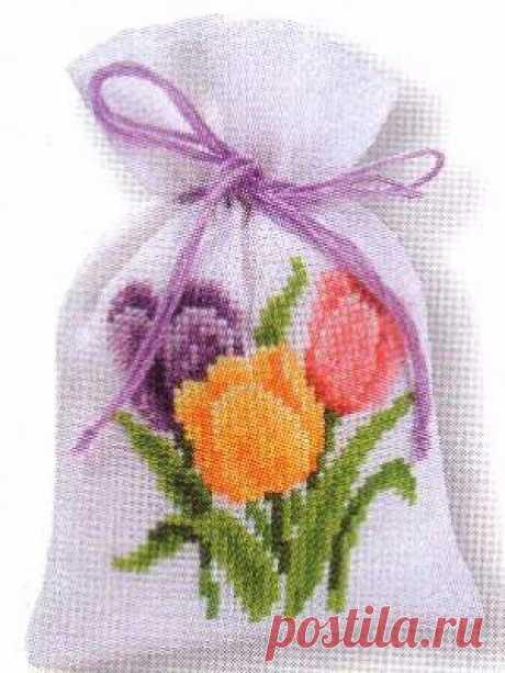 Вышивка крестом — веселый мешочек. Схемы вышивки